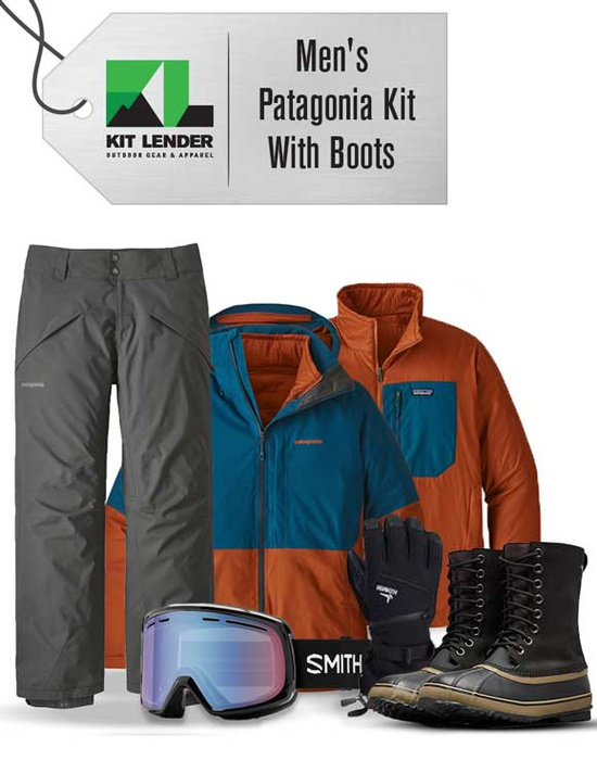 [Complete Outerwear with Boots KIT] - Mens - Patagonia  (Blue and Orange 3-in-1)